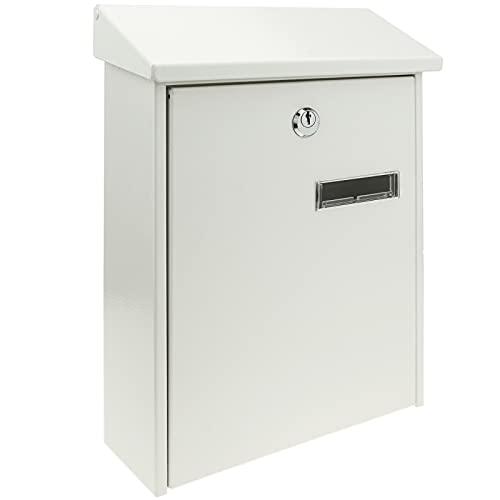 PrimeMatik - Boîte aux Lettres métallique coloré Blanc pour Mur 235 x 75 x 315 mm
