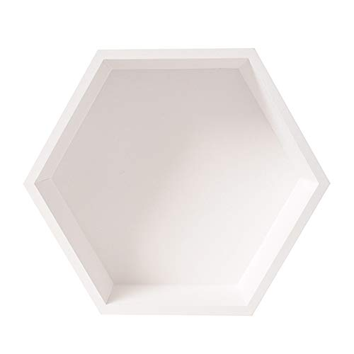 Lopbinte Nordic Style Nursery Kids Room Decoration Shelf Wooden Hexagon Shelves for Baby Bedroom Decoration White