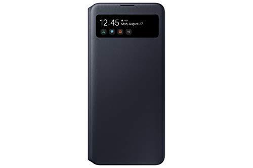 Samsung S View Smartphone Cover EF-EA715 für Galaxy A71, Handy-Hülle, stoßfest, Schutz Hülle, integriertes Sichtfenster schwarz