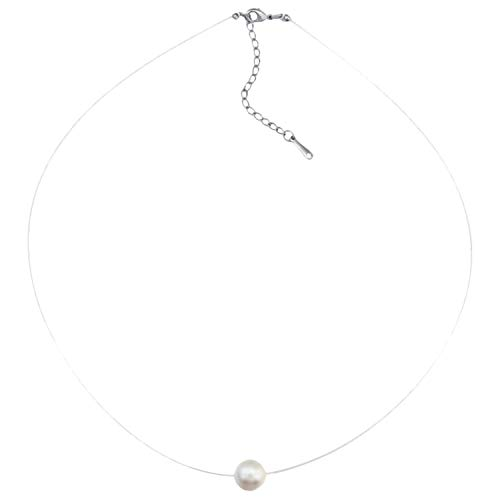 Ditz Collar de nailon para mujer con perlas flotantes, collar de perlas de nailon, colgante de perla, color blanco, 8 mm, joya para novia, regalo