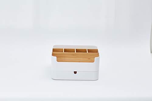 Cenzen cosmetica-organizer, multifunctionele bamboe cosmetische make-up organizer met 6 vakken en 1 lade voor cosmetica, make-upcontainer, opbergdoos voor badkamer