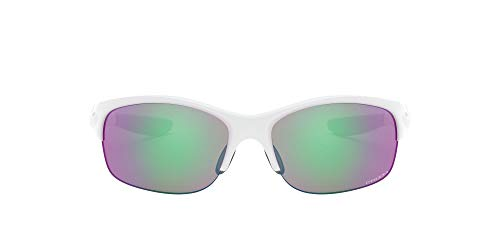 Oakley Women's OO9086 Commit Squared Cateye Sunglasses, Polished White/Prizm Golf, 62 mm