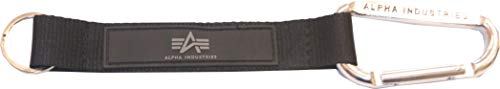 Alpha Industries Schlüsselring mit Karabinerhaken und Leder-Stoff (Black)