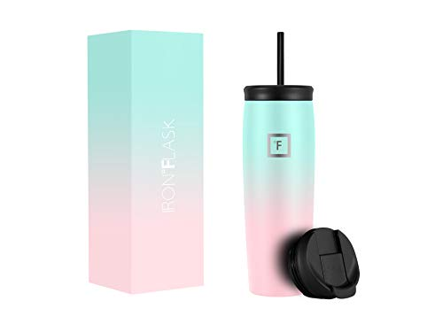 IRON °FLASK Nomad Tumbler - 24 Oz, 2 Lids (Straw/Flip), Vacuum Insulated Stainless Steel Bottle, Modern Double Walled, Simple Thermo Coffee Travel Mug, Hydro Water Metal Canteen TN_24BubbleGum