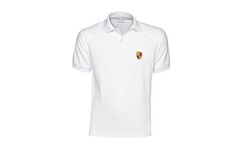 Porsche Crest Men's Polo Shirt - White - U.S. Size Large