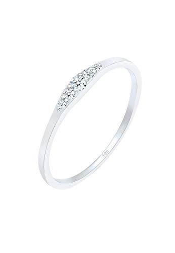 DIAMORE Anillos Compromiso para Mujer con Diamante (0,09 quilates) en Plata de ley 925