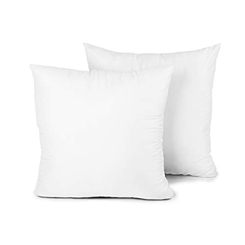 EDOW Throw Pillow Insert, Set of 2 Down Alternative Polyester Square Form Decorative Pillow, Cushion,Sham Stuffer. (White, 18x18)