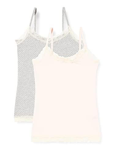 Marchio Amazon - Iris & Lilly Canotta con Pizzo Body Natural Donna, Pacco da 2, Multicolore (Soft Pink/Grey), M, Label: M