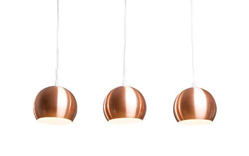 anTes interieur Hängeleuchte Balls lang kupfer gebürstet mit 3 x LED-Leuchtmittel (Mehrflammig Pendelleuchte Hängelampe Deckenlampe Pendellampe Deckenleuchte)
