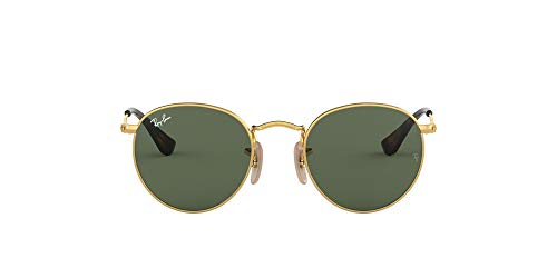 Ray-Ban Unisex Kinder Round Metal Junior Brillengestelle, (Gold/Dark Green), One Size