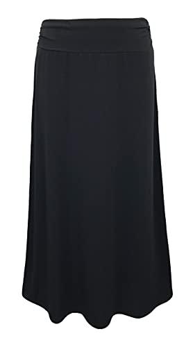 LEEBE Women's Plus Size Printed Maxi Skirt (1X-5X) (Black 3X)
