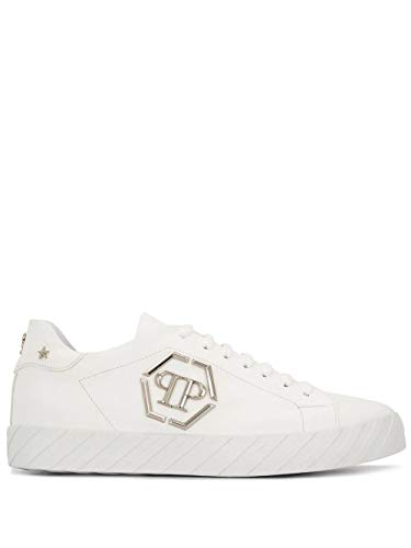 Philipp Plein Luxury Fashion Homme MSC2646PLE008N01 Blanc Cuir Baskets | Printemps-été 20