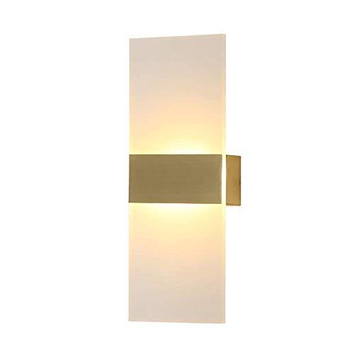 WEM Lámparas de pared, moderna lámpara de aplique de pared LED de 6 W, luz de pared interior hacia arriba y hacia abajo, accesorios de iluminación de pared de metal dorado para sala de estar, dormito