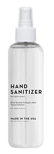 Cruelty-Free, Vegan, Hand Sanitizer Spray: Paraben-Free, Fragrance-Free Hand Sanitizers - Liquid Sanitizer with Spray Pump - Alcohol-Based Sanitizer by Elizabeth Mott - 8 Oz