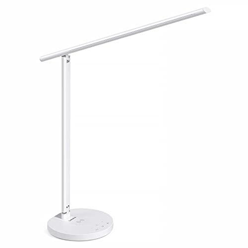 Tomons Lámpara Escritorio LED con Cargador Inalámbrico para Smartphone, 3 Modos de Iluminación, 6 Niveles de Brillo Regulable, con Cargador USB, Temporizador de Apagado, Función de Memoria,10W, Blanco
