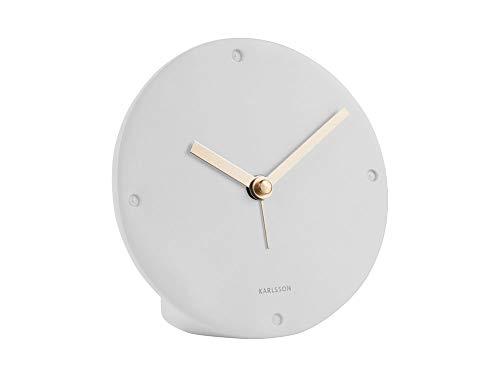 Karlsson - horloge, wekker mantel - polyhars - wit - Ø12 x D2,7 cm