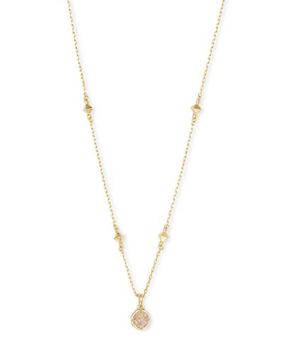 Kendra Scott Nola Pendant Necklace for Women, Fashion Jewelry, Gold-Plated, Iridescent Drusy