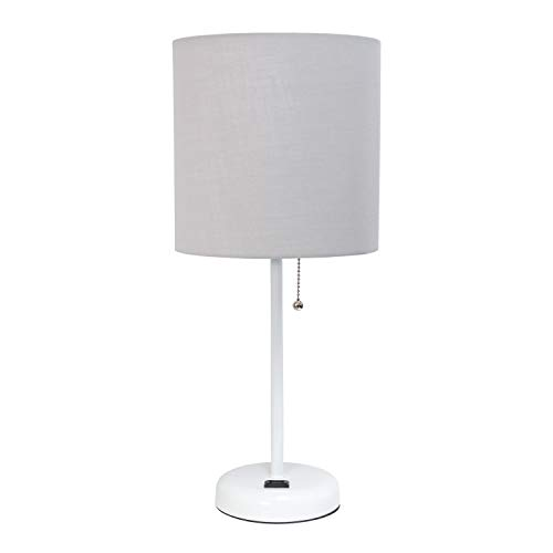 Limelights LT2024-GOW Stick Charging Outlet Table Lamp, White Base/Gray Shade