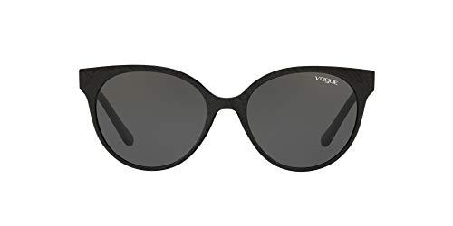 Vogue Eyewear Women's VO5246S Round Sunglasses, Black/Serigraphy/Grey, 53 mm