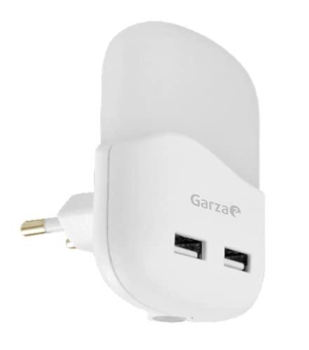 Garza - Bombilla LED Luz Blanca de Noche Infantil Quitamiedos Con Sensor Crepuscular y Con 2 Puertos USB