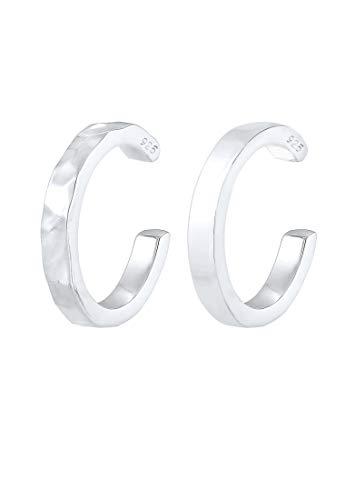 Elli Ohrringe Damen Earcuff Organic Look Minimal Basic verstellbar aus 925 Sterling Silber