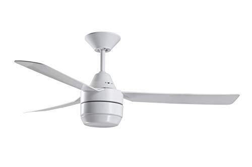 Ventilador de techo Calypso con luz y mando a distancia, marca: Bayside, color: blanco, diámetro: 122 cm, motor: 45 W, modo verano/invierno