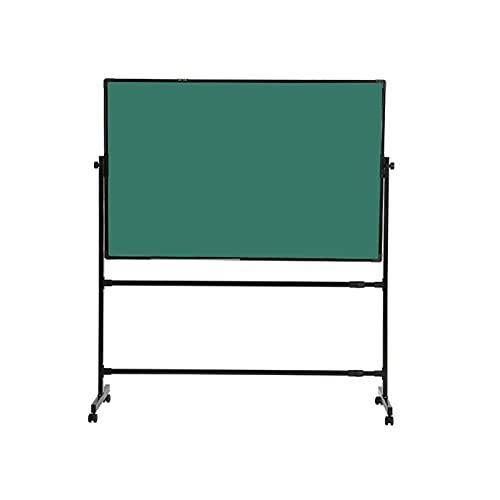 Pizarra blanca Móvil con gancho de metal extraíble y soporte para bolígrafos360 ° giratorio de doble cara verde para reuniones Get Together Aula Negro Soporte (tamaño: 90x120cm)