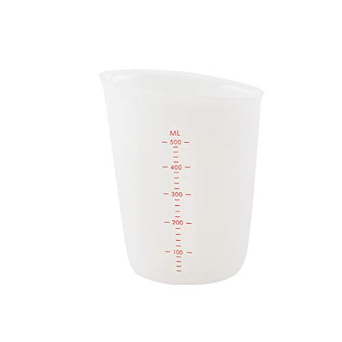 Healifty Vasos medidores de silicona de 500 ml con vasos graduados transparentes a escala para mezclar mancha de pintura resina epoxi contenedor de líquido de laboratorio