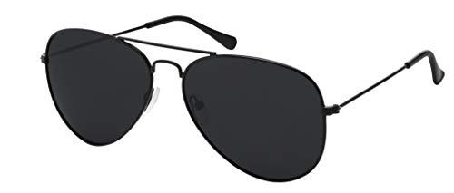 La Optica B.L.M. Gafas de sol unisex UV400, gafas de piloto retro – colores, pack individual y doble Paquete individual negro (cristales: gris). M