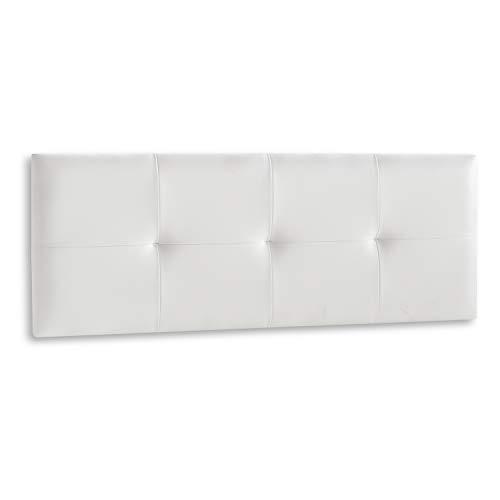DISTRIGAL, S.L. HomeSouth - Cabecero Cama Matrimonio tapizado en símil Piel Color Blanco, Cabezal Modelo Deva, Medidas: 159,5 cm (Largo) x 49,5 cm (Alto) x 3,5 cm (Fondo)