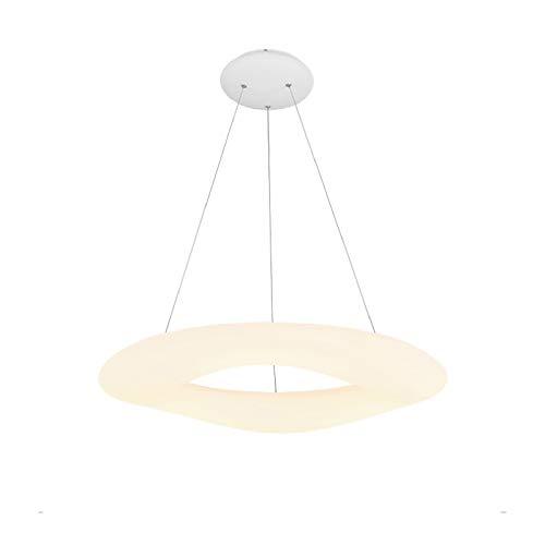 Iluminación Colgante LED 23W color cálido Colgante de Luz Redonda Moderna Luces no ajustables Ø46x15cm 1700LM Color marfil Luminaria Altura ajustable Iluminación superbrillante Cuarto balcón Pasillo