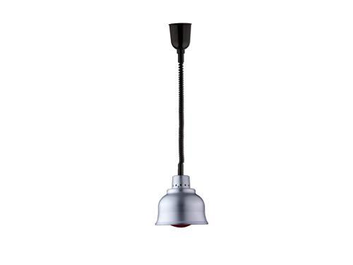 SARO Buffet Wärmelampe HENRY - Lampe zur Wärme-Erhaltung von Lebensmitteln und Speisen (Infrarot-Lampe, individuell höhenverstellbar, robustes Leichtmetall, beständiges Sprialkabel) silber
