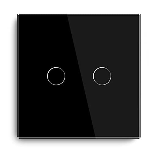 BSEED Smart ZigBee - Interruptor de luz empotrable con sensor táctil, panel de cristal, 2,4 GHz, WiFi, interruptor de pared (requiere concentrador), compatible con Alexa/Google Home/Tuya/Smart Life