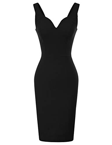 GRACE KARIN Business Kleid Damen schwarz bleistiftkleid Knielang Retro Kleid CL987-1 M
