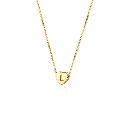 Dainty Heart Initial Necklace Letters L Alphabet Pendant Necklace Small Heart 18K Real Gold Plated Personalized Necklace for Girl Women
