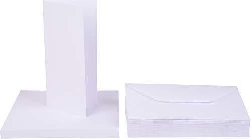 50 Doppelkarten mit 50 Umschlägen DIN Lang 21x10 cm Briefe Weiß