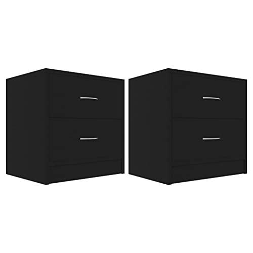 vidaXL 2X Mesitas de Noche Aparador Mesilla Auxiliar Armario de Habitación Dormitorio Cajón Organizador Almacenamiento Aglomerado Negro 40x30x40 cm