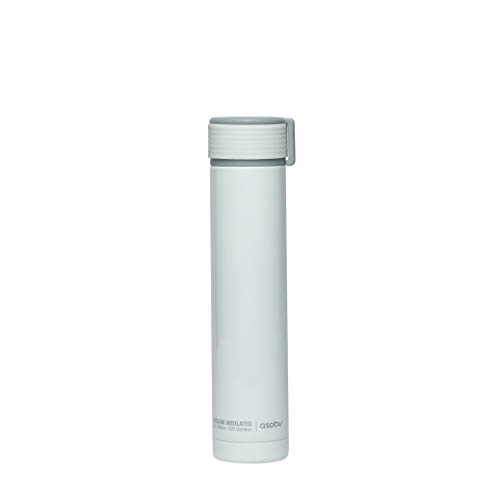 The Asobu Skinny Mini 8oz Fashionable Double Walled Stainless Steel Insulated Pocket Sized Flask (White)