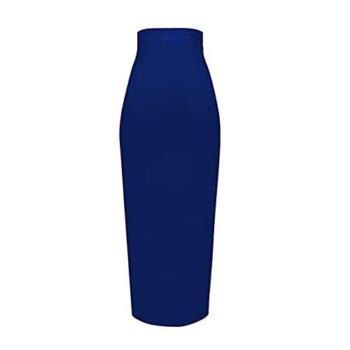 N\P Color más tamaño rodilla longitud vendaje falda mujer elástico bodycon