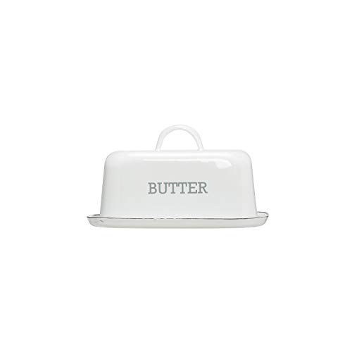 Creative Co-op White Enameled Steel Butter Dish with Black Rim Food Storage