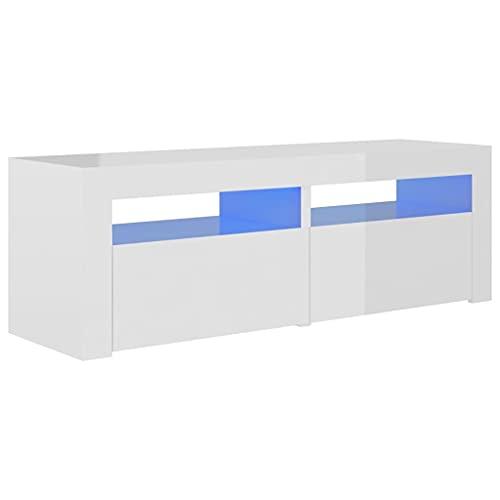 vidaXL Mueble para TV con Luces LED Soporte Armario Aparador Estante Salón Sala de Estar Decoración Entretenimiento Blanco Brillante 120x35x40 cm
