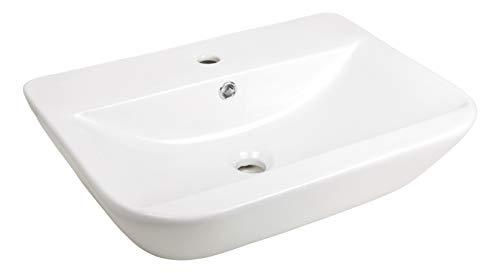 'aquaSu® Handwaschbecken leNado, 60 cm breit, Waschtisch in eckiger Form, Waschbecken in weiß