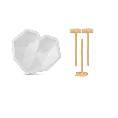 QINGJIA Antiadherente 1 PC Forma de corazón Molde de pastel de silicona con mini martillos de madera Mousse de chocolate Postre para hornear Fondant de silicona Molde DIY (Color : Set3)