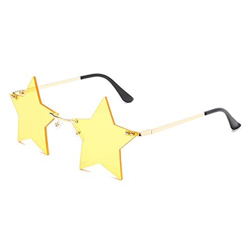 QWKLNRA Gafas De Sol para Hombre Marco Dorado Lente Amarilla Gafas De Sol Deportivas Polarizadas Forma De Estrella De Cinco Puntas contra-UV Gafas De Sol para Mujer Decoración Sin Montura Gafas De