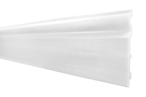 2 Meter | Sockelleisten | weiss | modern | dekorativ | Kabelkanal | hartes Styropor | Fussleisten | 120x15mm | HF-2