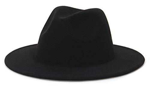 EOZY-Cappello Panama Vintage Uomo Donna Unisex Fedora in Cotone Classico Bombetta Jazz Berretto Tinta Unita (L, Nero)
