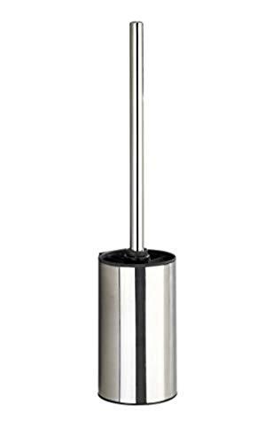 WENKO Turbo-Loc® Edelstahl WC-Garnitur Detroit - Wand WC-Bürstenhalter, Befestigen ohne bohren, Edelstahl rostfrei, 8.5 x 40 x 9 cm, Glänzend