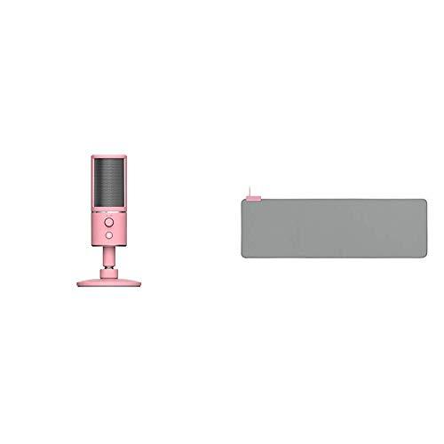 Razer Seiren X Quartz - USB Kondensator-Mikrofon für Streaming (Kompakt mit Schockdämpfer) Rosa, Pink & Goliathus Extended Chroma Quartz - Extra große weiche XXL Gaming Maus-Matte, Pink
