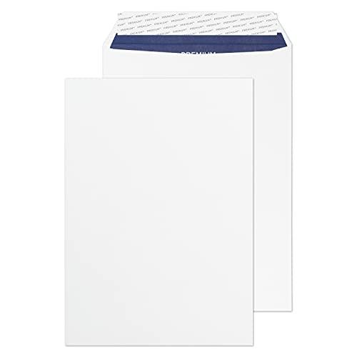 Premium Pure - Sobre (C5, 50 unidades, 120 g/m², 110 x 220 mm, cierre autoadhesivo, papel reciclado), color blanco