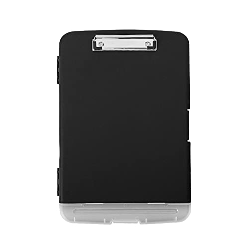 Carpeta de portapapeles tamaño A4, carpeta de plástico para conferencias, portapapeles de papel, caja de almacenamiento con clip para tablero ideal para profesionales de la oficina (negro)